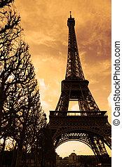 wieża, eiffel, zachód słońca