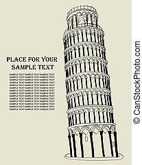 wieża, italy., field., cud, pizansky
