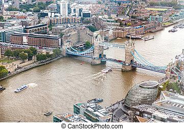 wieża most, i, londyn, sylwetka na tle nieba, antenowy prospekt