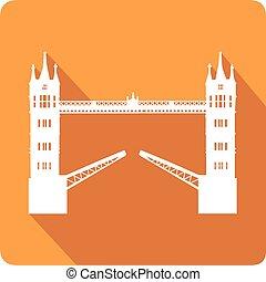 wieża most, wektor, ilustracja