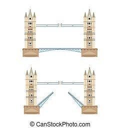 wieża most, wektor