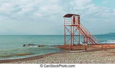 wieża, plaża, opróżniać, lifeguard