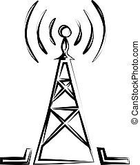wieża, radio, ikona