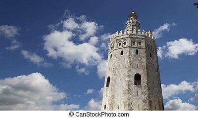 wieża, seville, hiszpania, złoty