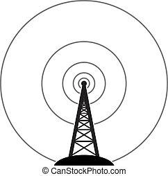 wieża, transmisja, wektor, radio