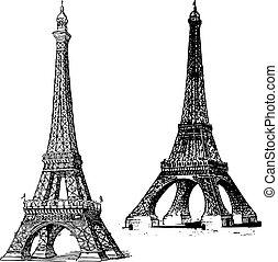 wieża, wektor, eiffel