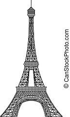 wieża, wektor, ilustracja, eiffel