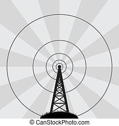wieża, wektor, radio