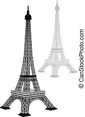 wieża, wektor, sylwetka, eiffel