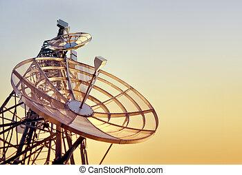 wieża, zachód słońca, telekomunikacje