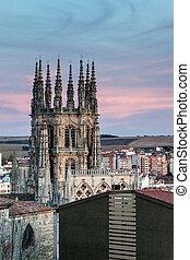 wieże, katedra, burgos, maria, święty