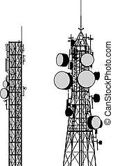 wieże, komunikacja, wektor
