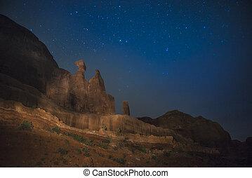wieże, pustynia, courthouse, krajobraz, noc