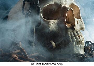 wieczność, czaszka, przymykając, ludzki, znękany, więzy