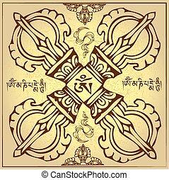 wieczny, buddyzm, ilustracja, symbol, wektor, tybetańczyk