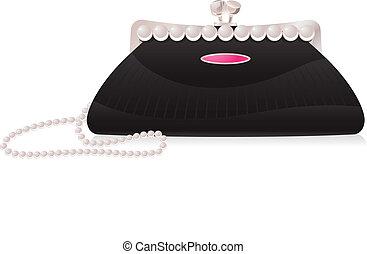 wieczorna torba, z, perła