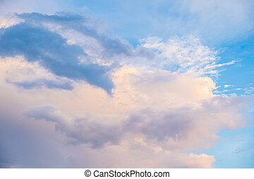 wieczorny, clouds., piękny, niebo