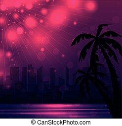 wieczorny, ilustracja, od, niejaki, miasto, plaża, z, dłoń, drzewa.