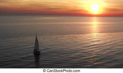 wieczorny, jacht, morze