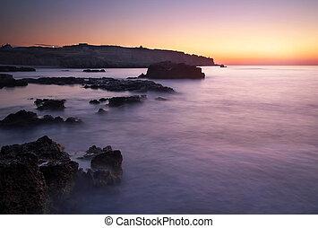 wieczorny, podczas, niebo, morze, zatoka, motyw morski, sundown., piękny