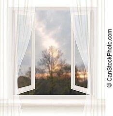wieczorny, vector., tło., okno, tło, otwarty