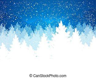 wieczorny, zima krajobraz