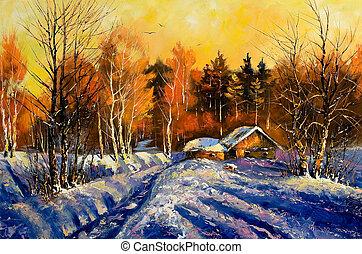 wieczorny, zima, wieś