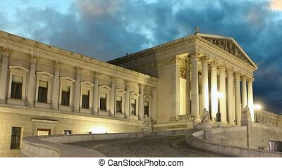 wiedeń, parlament, na, zachód słońca, -, czas