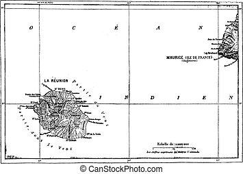 wiedervereinigung, und, mauritius, landkarte, weinlese, engraving.