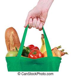wiederverwendbar, einkaufstüte, gefüllt, mit, früchte gemüse