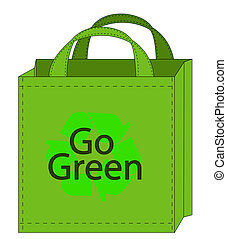 wiederverwendbar, einkaufstüte, mit, gehen, grün