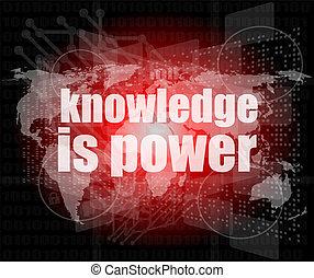 wiedza, moc, ekran, cyfrowy, słówko, uczyć się, wykształcenie, concept: