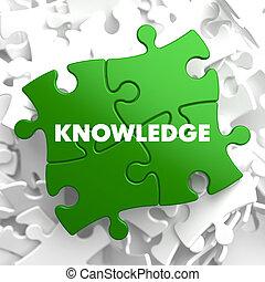 wiedza, na, zielony, puzzle.