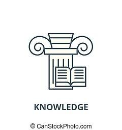 wiedza, pojęcie, symbol, znak, linearny, wektor, ikona, kreska, szkic