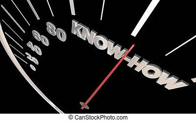 wiedza, zręczności, ilustracja, wiedza technologiczna, przeżycie, szybkościomierz, 3d