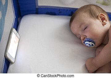 wiegelied, beweeglijk, slapende, telefoon, baby, liederen