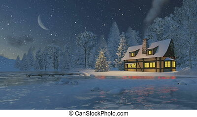 wiejski, dom, drzewo, boże narodzenie