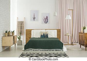 wiejski, drewniany, sypialnia meble