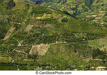 wiejski, tungurahua, ekwador, prowincja, krajobraz