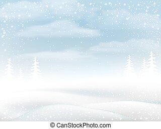 wiejski, zima krajobraz, śnieżny