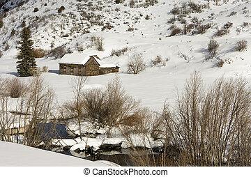 wiejski, zima, stodoła