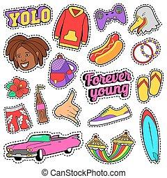 wiek dojrzewania, fason, komplet, z, różowy, wóz, mocne jadło, i, barwny, odzież, dla, majchry, badges., wektor, doodle