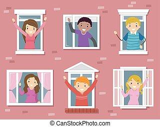 wiek dojrzewania, okno, ilustracja, kolegium, stickman