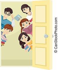 wiek dojrzewania, studenci, drzwi, etiuda, zerknąć
