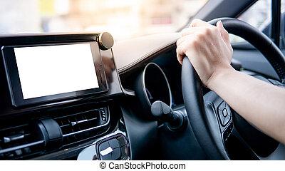 wiel, auto, bestuurder, hand houdend, stuurinrichting