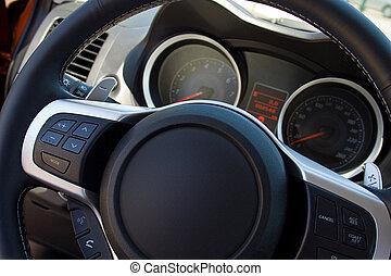 wiel, auto, paneel, stuurinrichting, instrument
