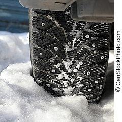 wiel, auto, sneeuw