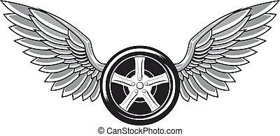 wiel, band, met, vleugels