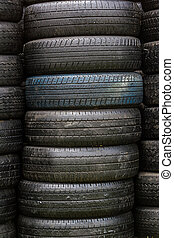 wiel, black , oud, stapel, tyres.