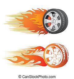 wiel, en, vlam